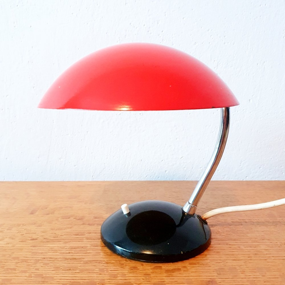 Red mid-century table lamp by Josef Hůrka for Drukov, 1960s