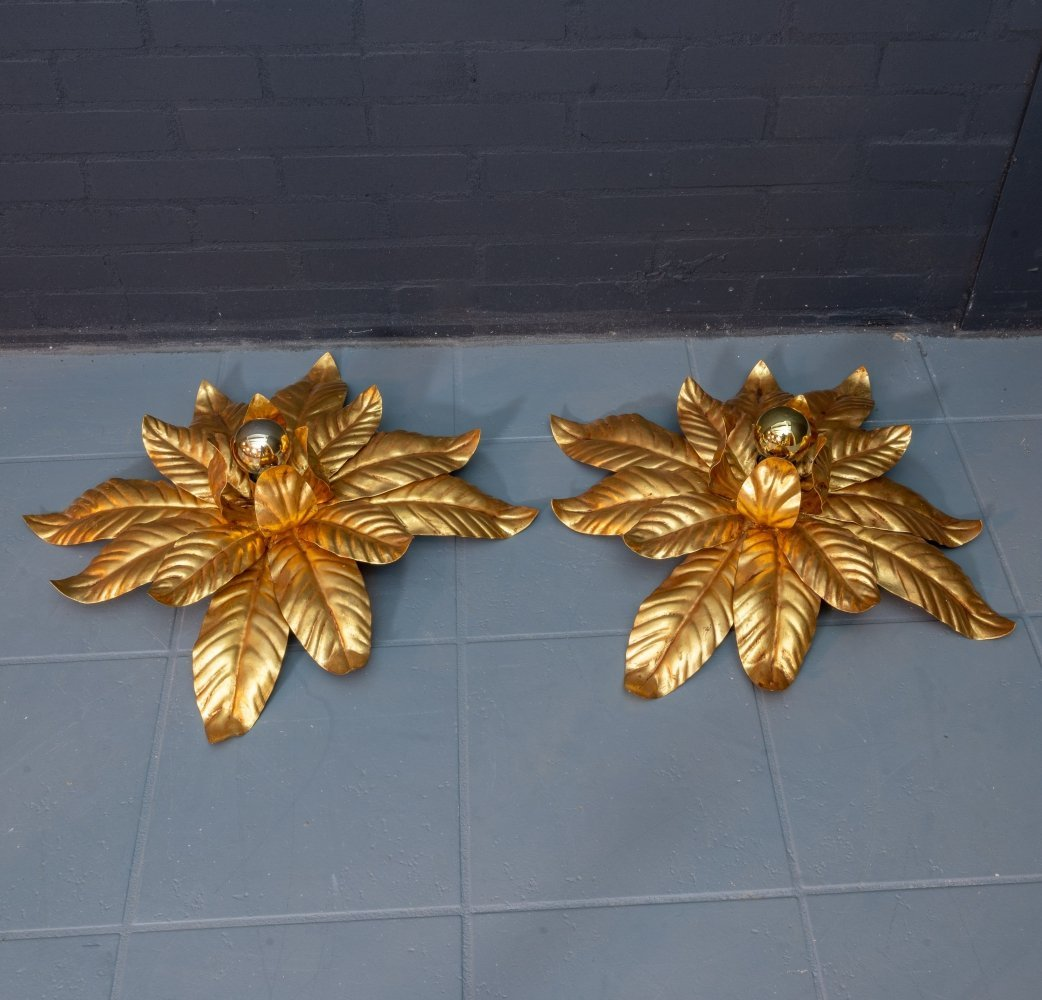 Gilded flower wall lamps by Hans Kögl, 1980s