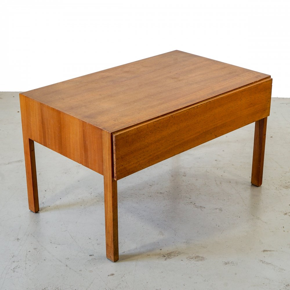 Minimalistic small Scandinavian design side table with handleless drawer