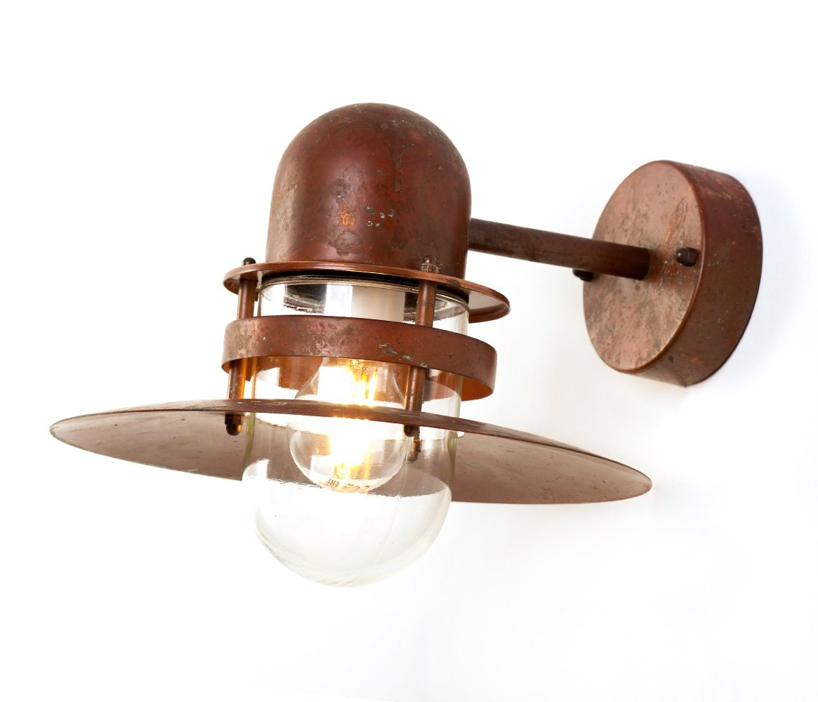 Vintage Danish patinated copper Nordlux exterior wall lamp