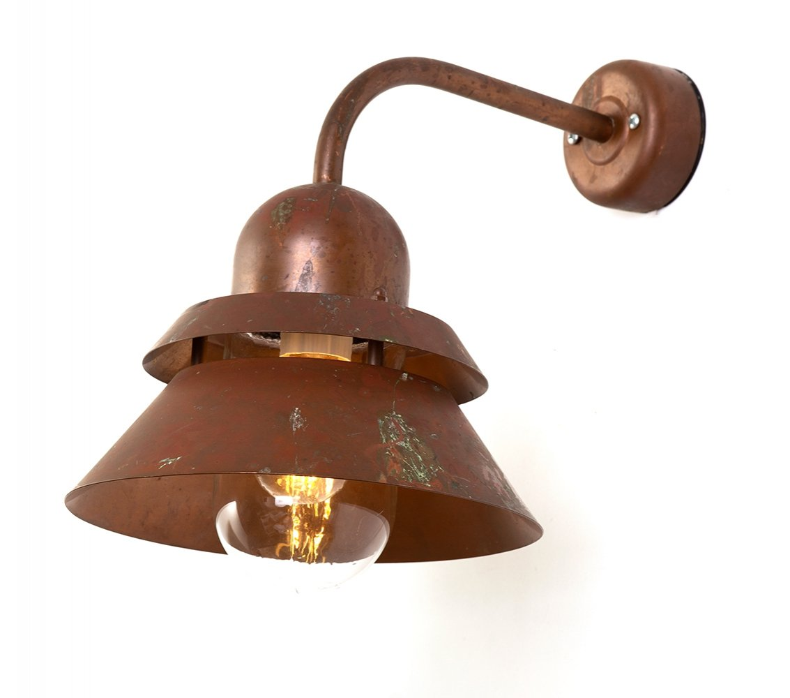 Vintage Danish Nordlux patinated copper exterior wall lamp