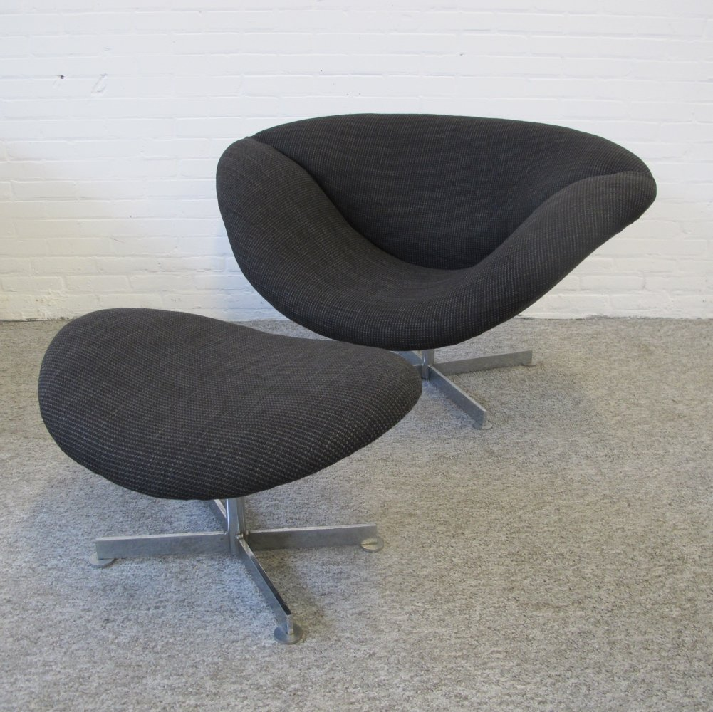 Lip Chair & ottoman by Rudolf Wolf for Rohe Noordwolde, 1960s