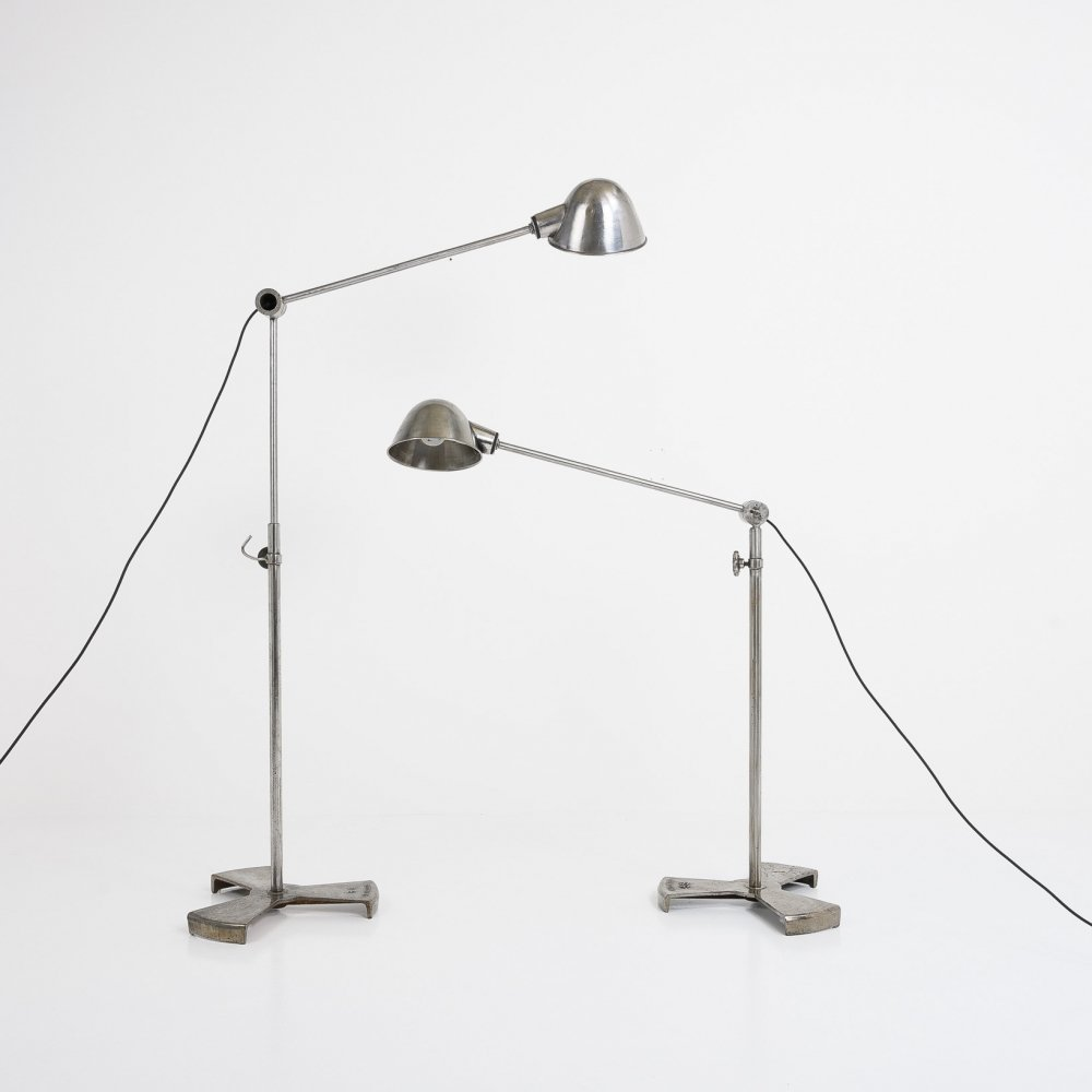 French industrial floor lamps by R.G. Levallois, 1940s