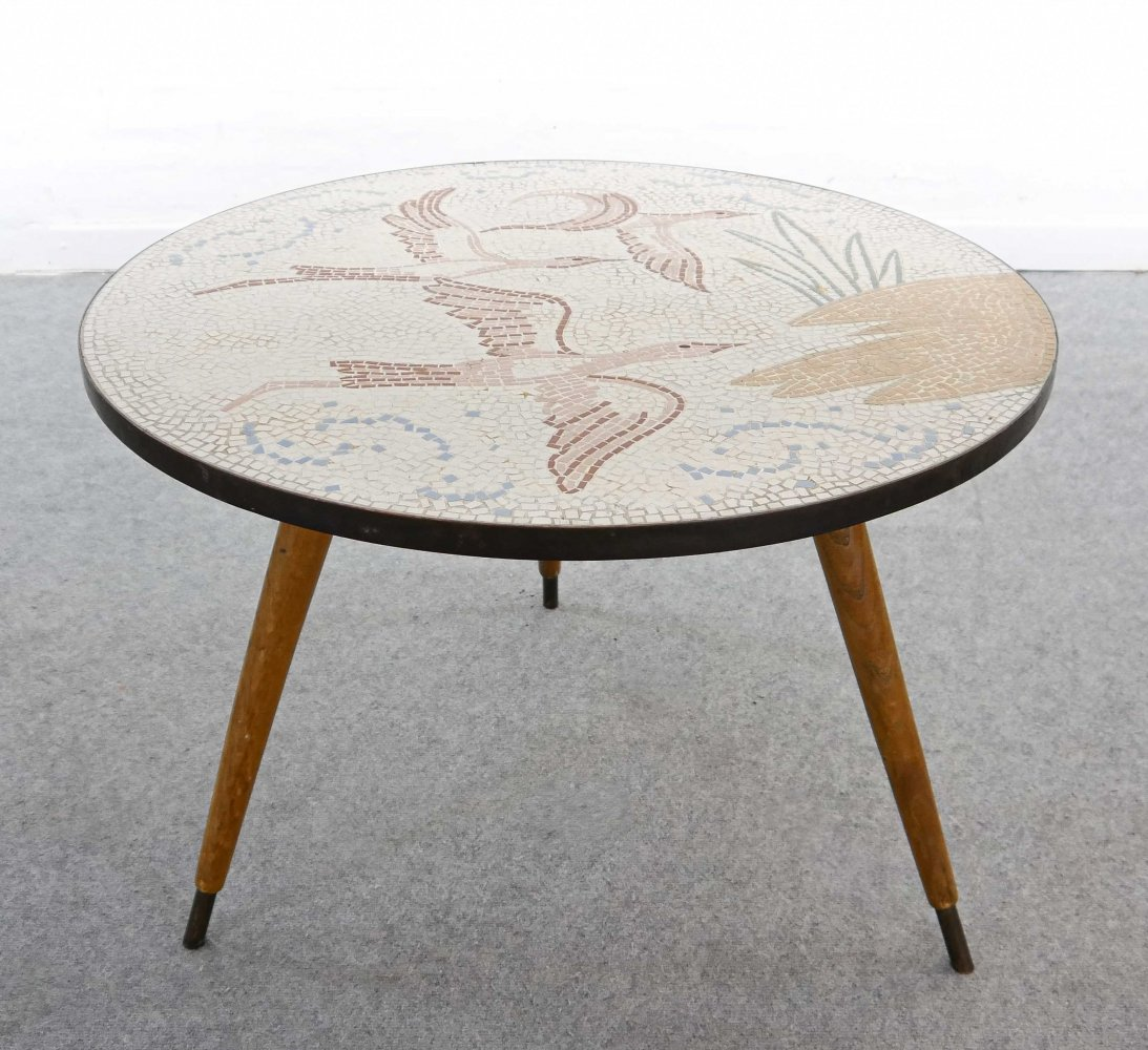Round Mid Century Mosaic Coffee Table by Berthold-Mueller Oerlinghausen