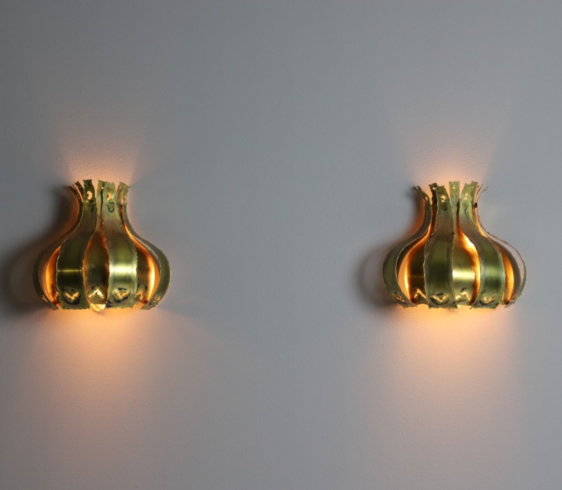 Pair of brass wall lights by Svend Aage Holm-Sørensen, Denmark 1960s