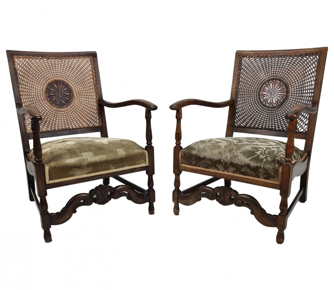 Pair Art Deco armchairs with cane backrests by Salomon Speelman for Firm S. Speelman, 1920s