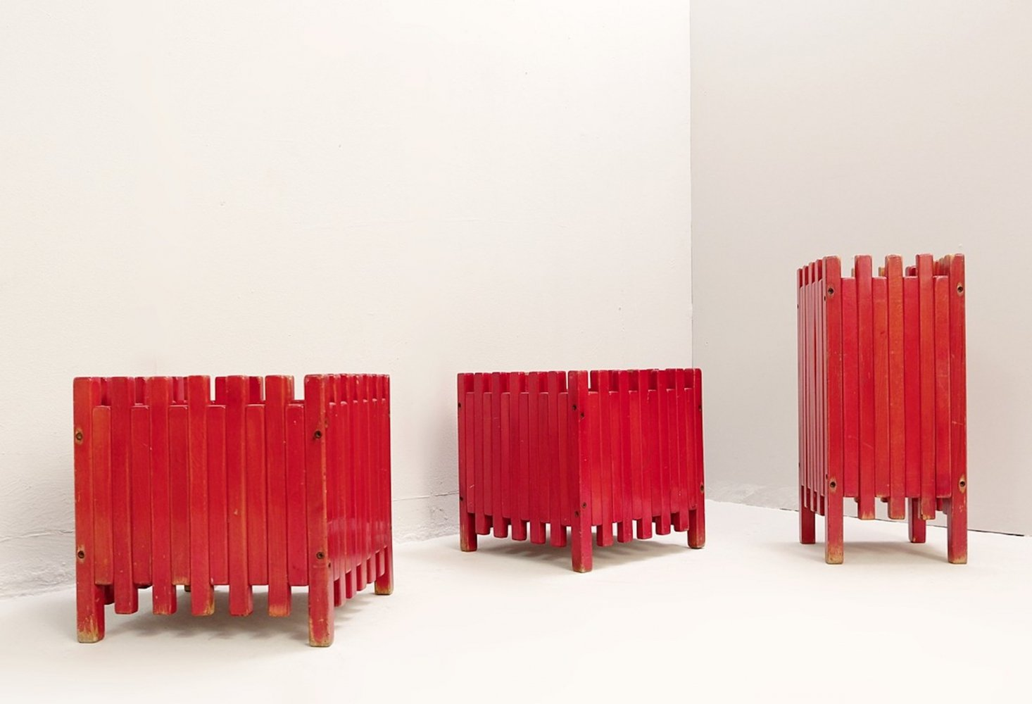 Set of Three Red Planters by Ettore Sottsass for Poltronova, 1961
