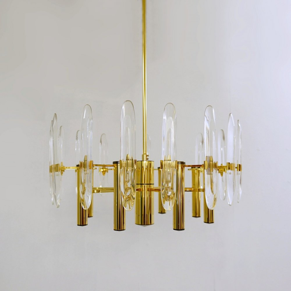 Brass And Glass Chandelier From Sciolari, Italy 1970