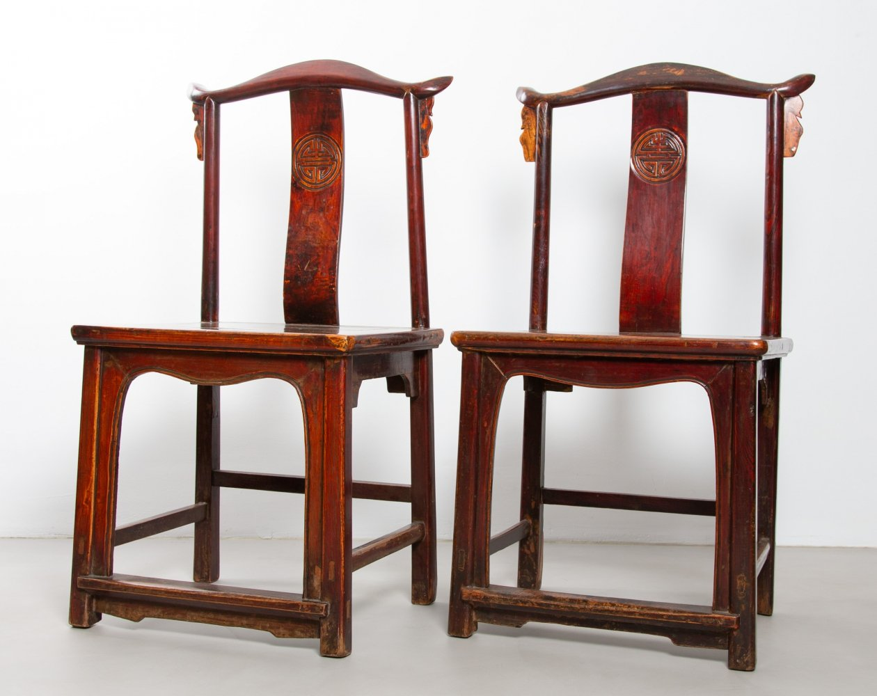 Set of two very old Chinese chairs made of hard wood, 1920s