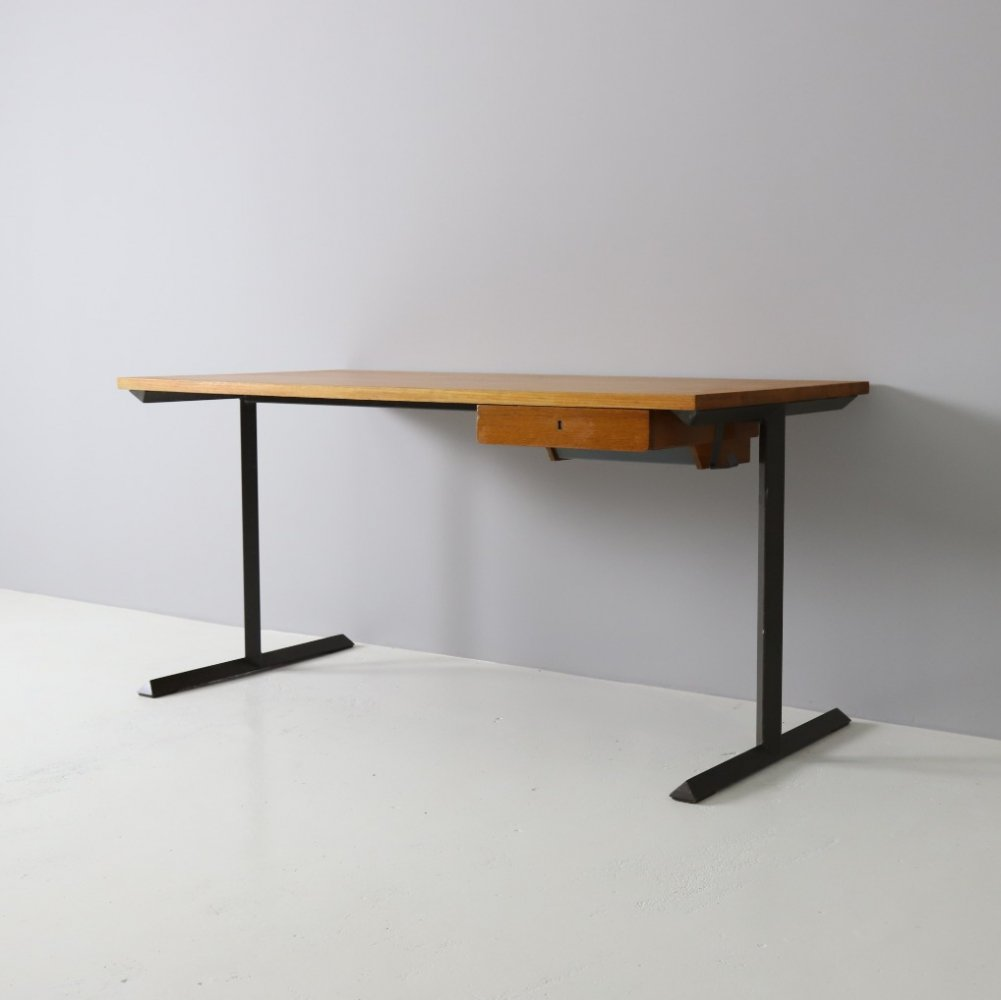 Industrial Dutch design writing desk in teak & metal, 1960s