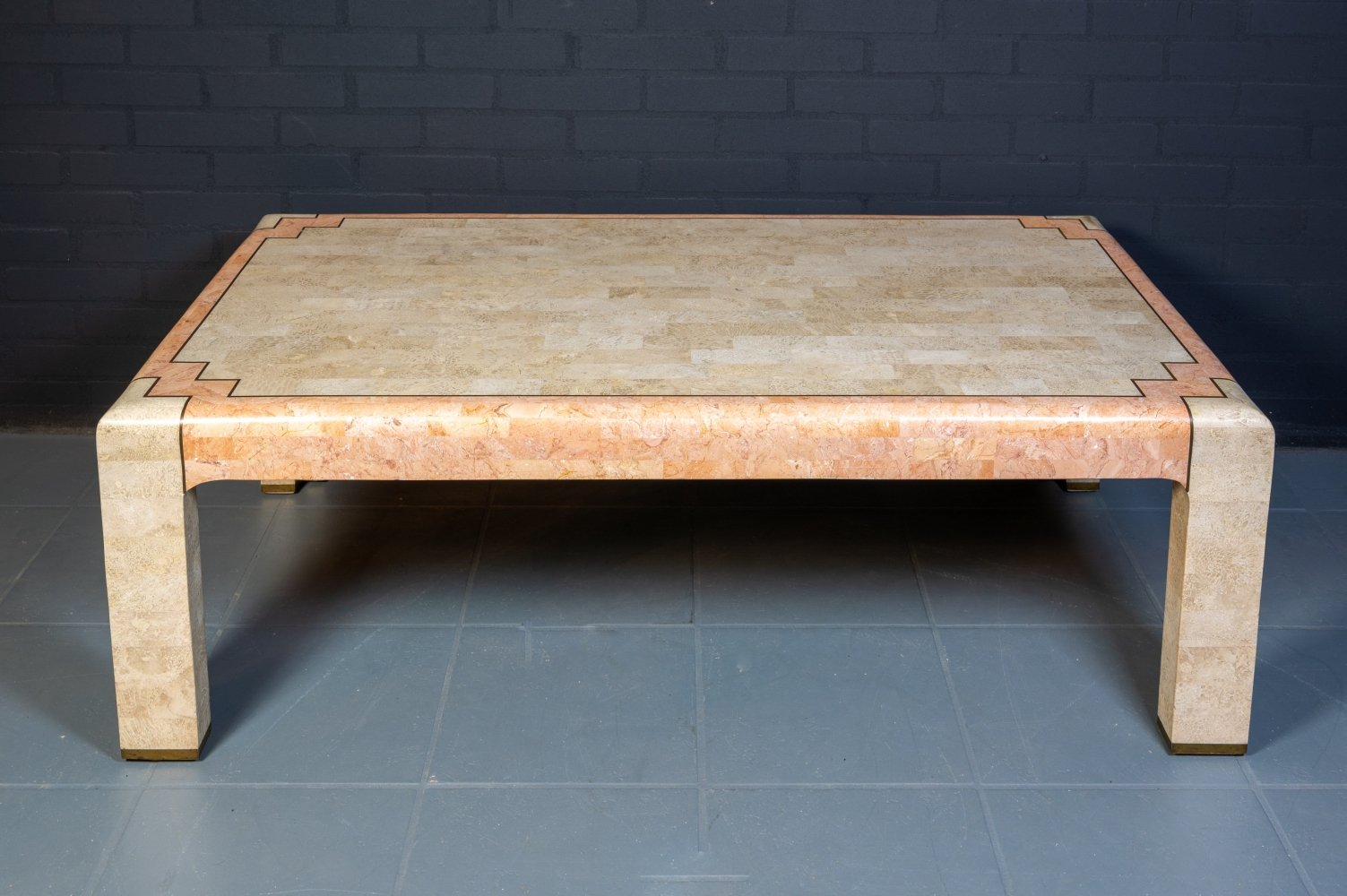 Vintage Tessellated Marble & Brass Coffee Table, 1980s