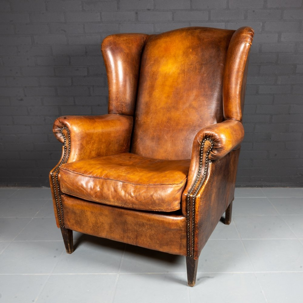 Vintage sheep leather wing chair, 1980s