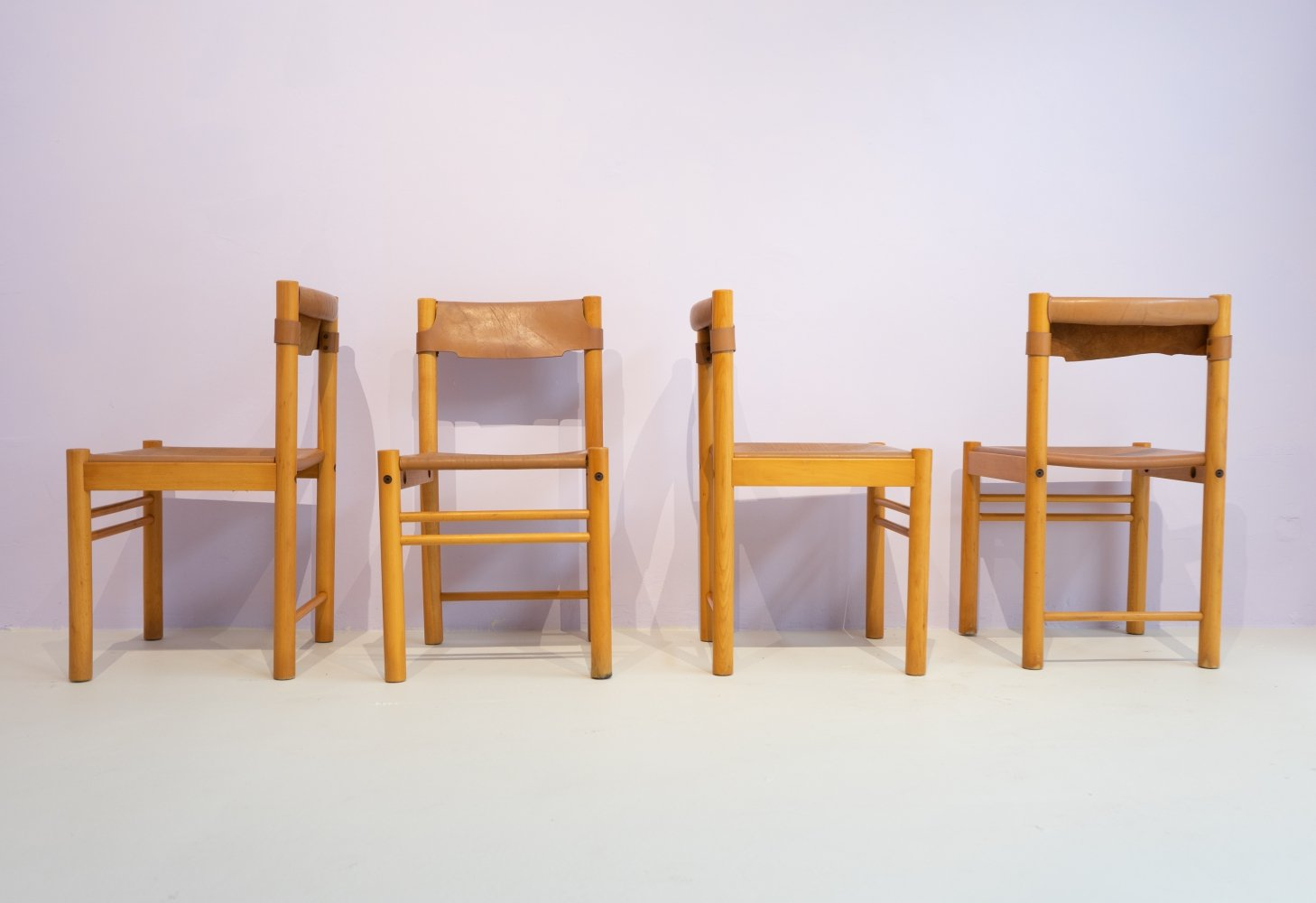 Set of 4 Minimalistic Ipso Facto Dining Chairs by Ibisco Sedie, 1980s