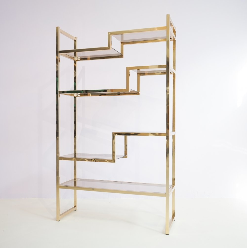 Regency Brass Etagere with Glass Shelves, 1970s