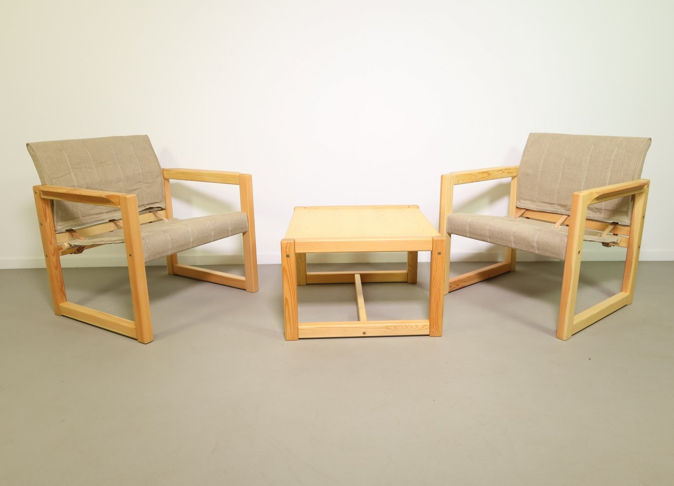 Pinewood safari chairs with matching table by Karin Mobring for IKEA, 1970s