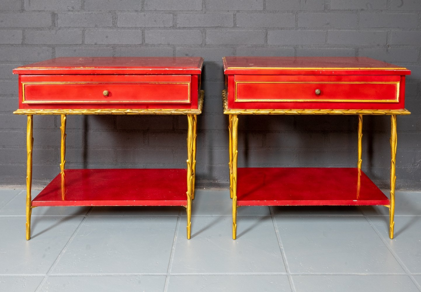 Set of 2 bedside tables, Italian design 1950s