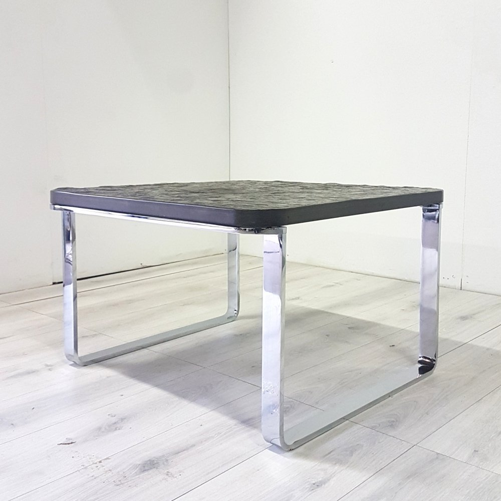 Brutalist steel coffee table with solid black slate top by Peter Draenert, 1980s