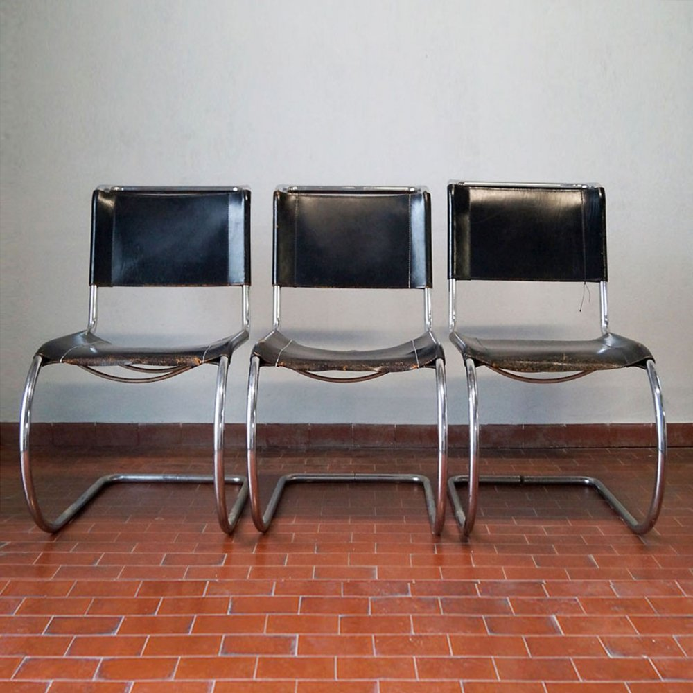 Set of 3 Mr10 chairs by Mies Van der Rohe for Thonet