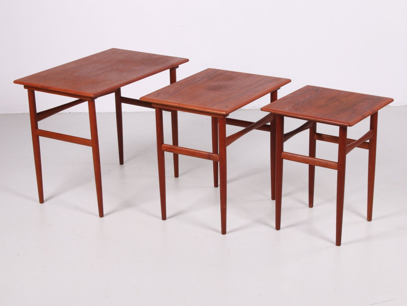 Danish set of teak side tables by Dyrlund, 1960s
