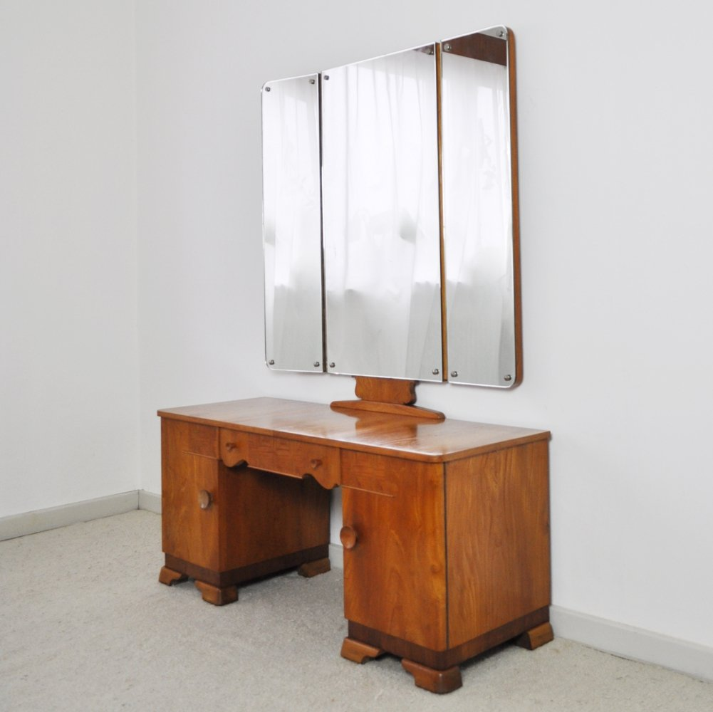 Danish Art Deco vanity desk with tri-folding mirrors & two small cabinets