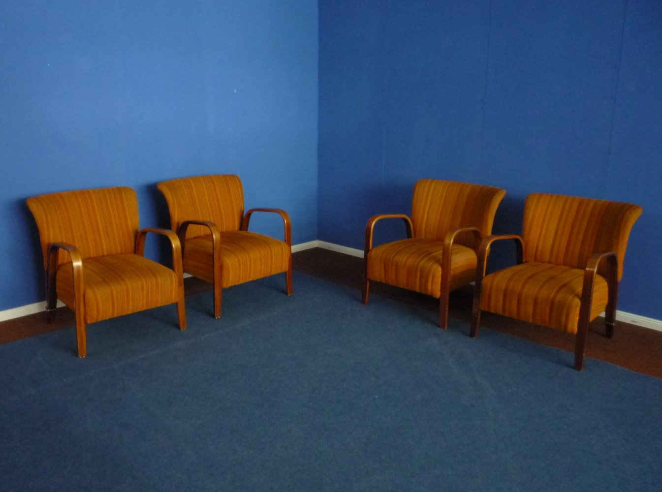 Set of 4 French Armchairs by Hugues Steiner for Steiner Meubles, 1940s