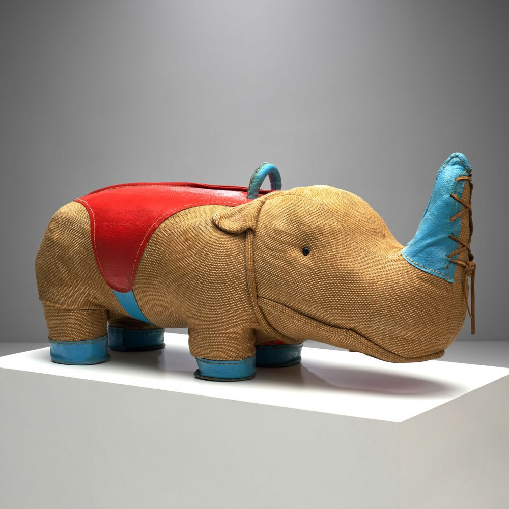 Handmade Large Rhinoceros Toy by Renate Müller for H. Josef Leven, Germany 1968