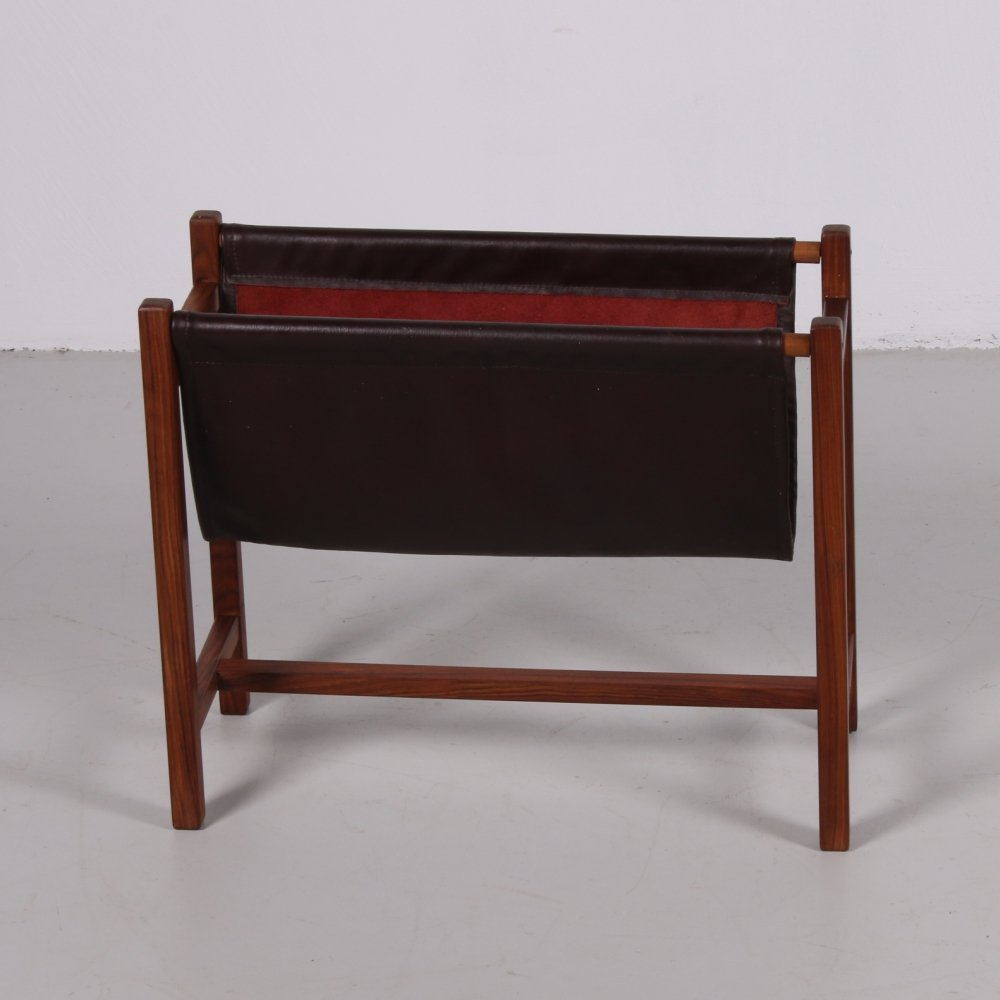 Magazine rack made of rosewood & leather, 1960s