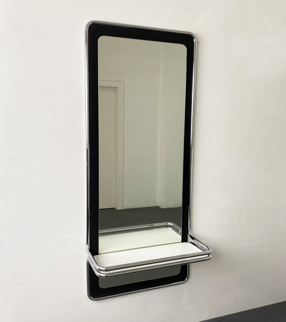 Mid-Century Wall Mirror with Shelf made of chrome plated Tubular Steel, France 1970s