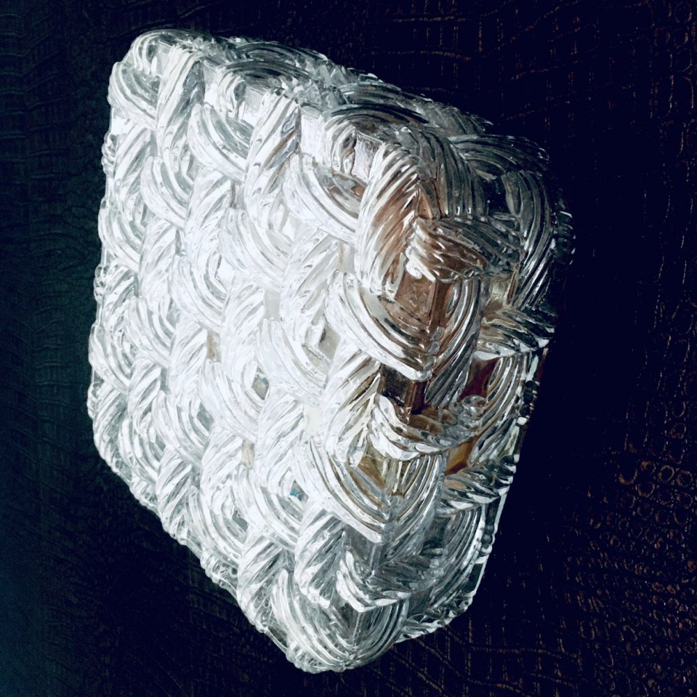 Midcentury Modern Design Woven Glass Wall Lamp Sconce, 1960