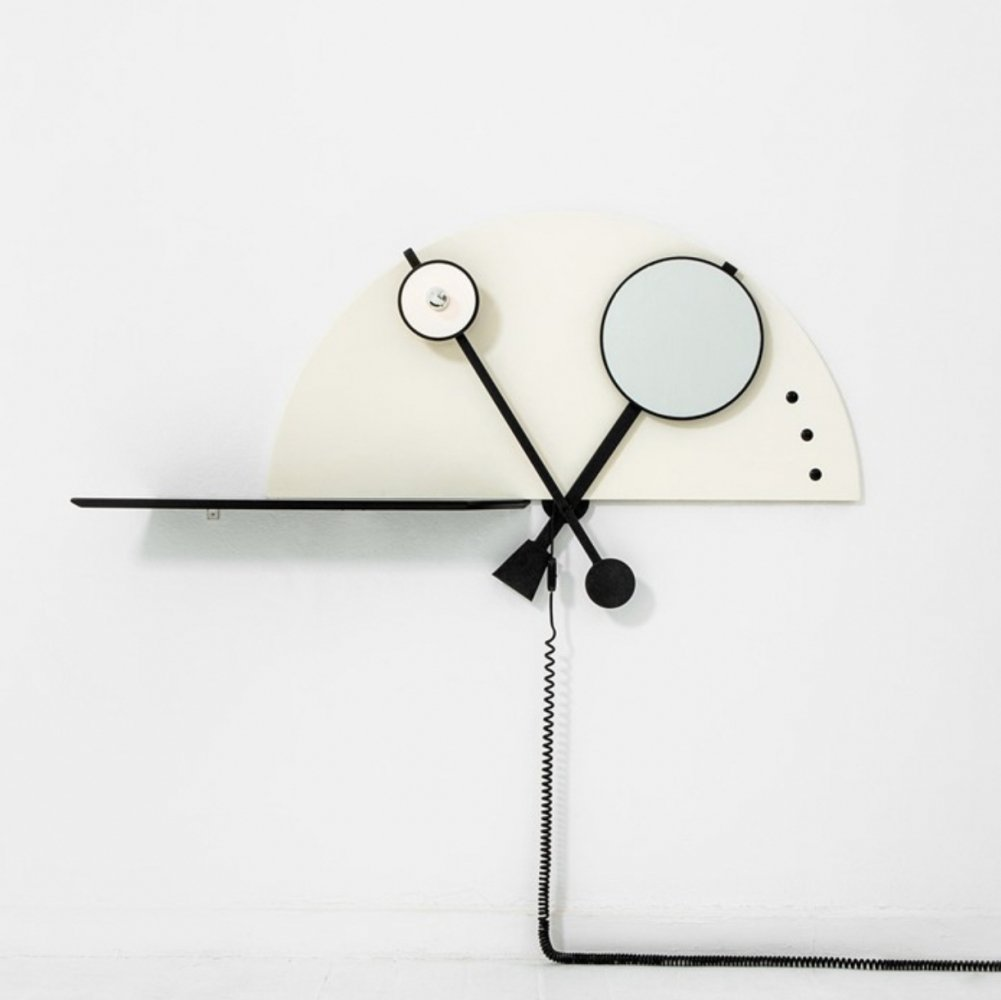 1970 Wall console with integrated mirror & lamp by Giotto Stoppino for Acerbis