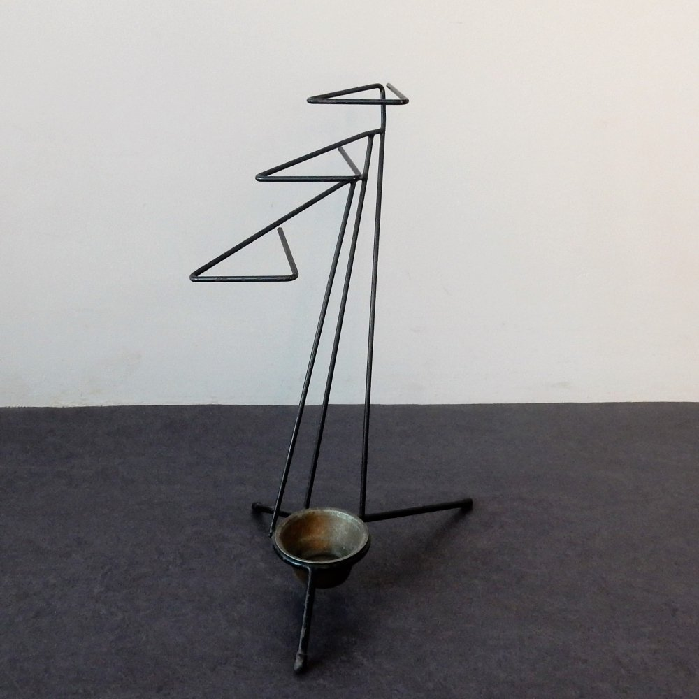 Vintage metal umbrella stand, 1950