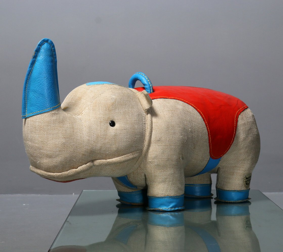 Therapeutic Toy Rhino by Renate Müller for H. Josef Leven KG (With Certificate)