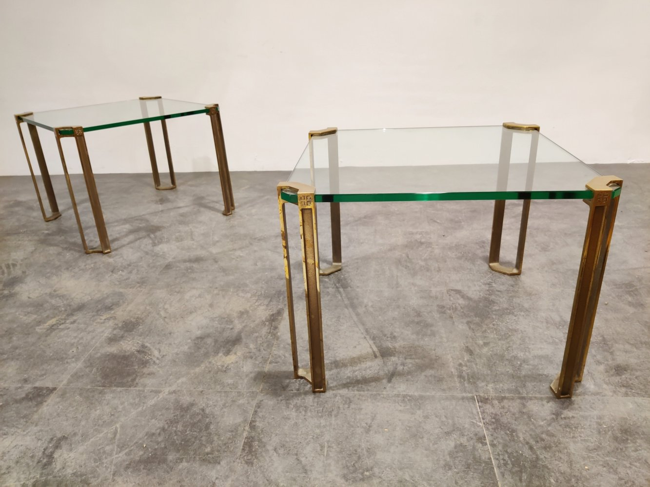 Pair of Peter Ghyczy T24 Pioneer brass Side Tables