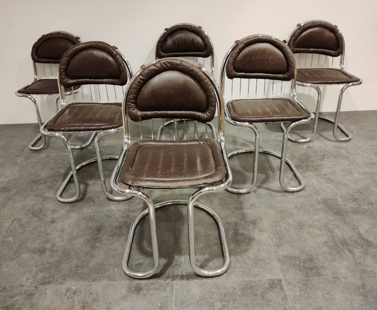 Vintage chrome & leather cantilever dining chairs, 1970s