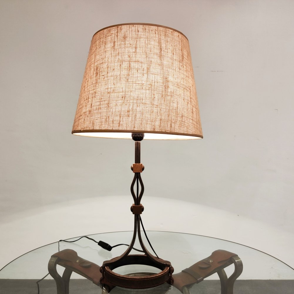 Mid century iron & leather table lamp by Jacques Adnet, 1950s