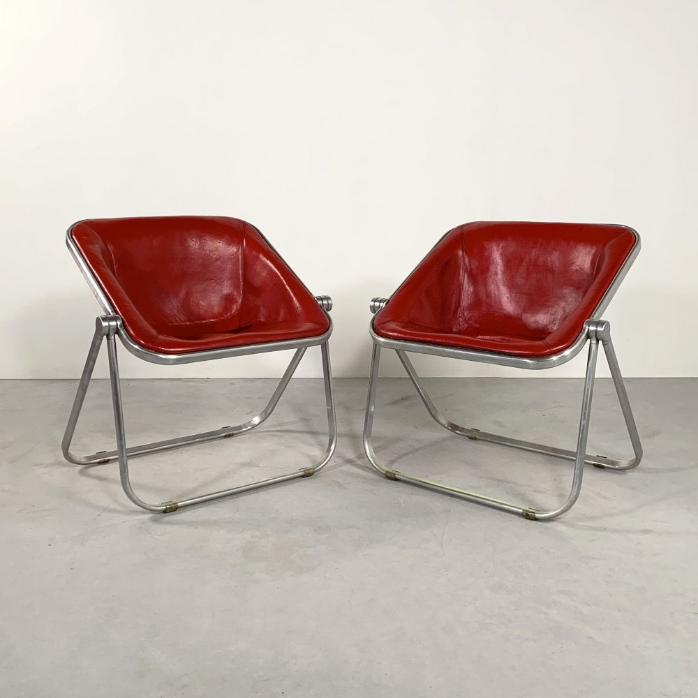 Set of 2 Red Leather Plona chairs by Giancarlo Piretti for Castelli, 1970s