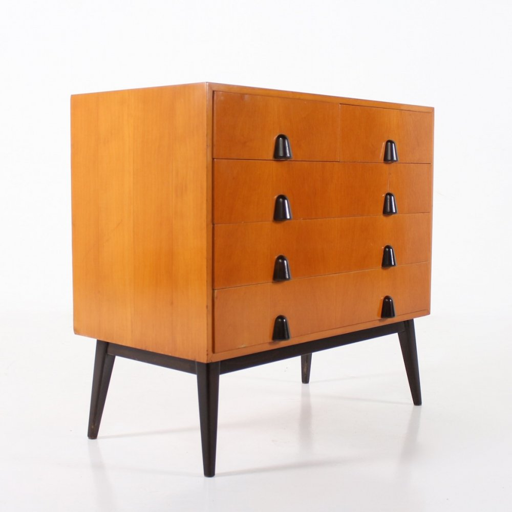 Fruitwood modernist chest of drawers, Germany 1950