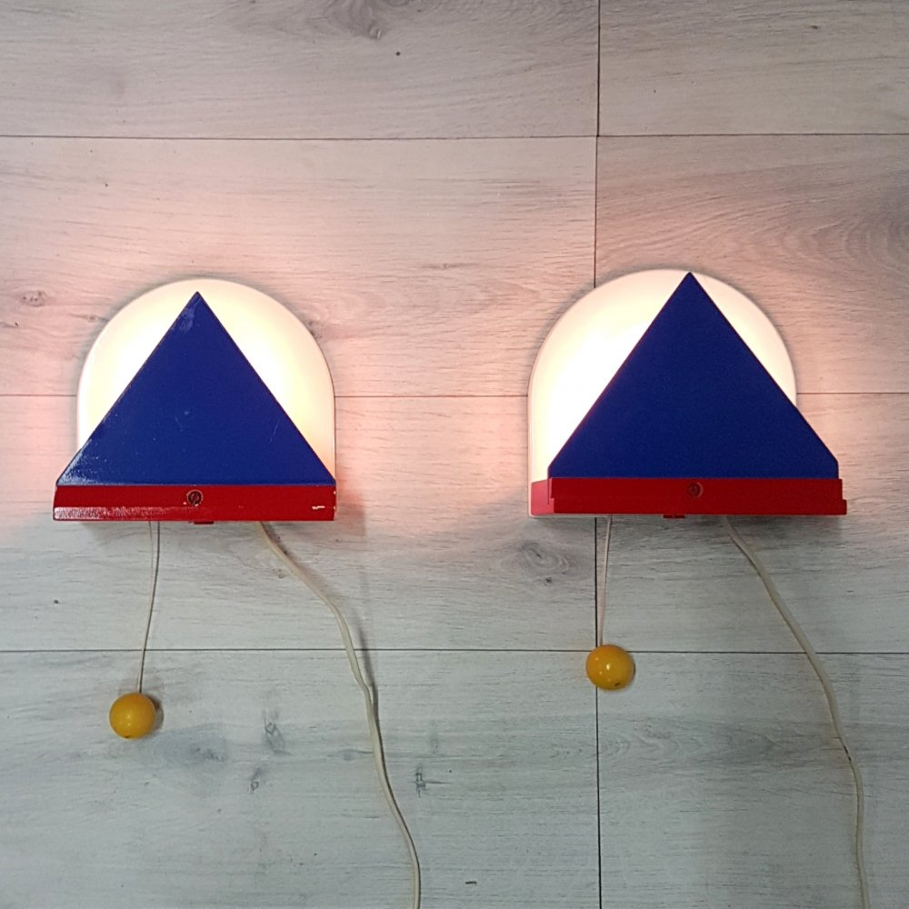 Set of 2 Memphis style wall lamps by IKEA, Sweden 1980s
