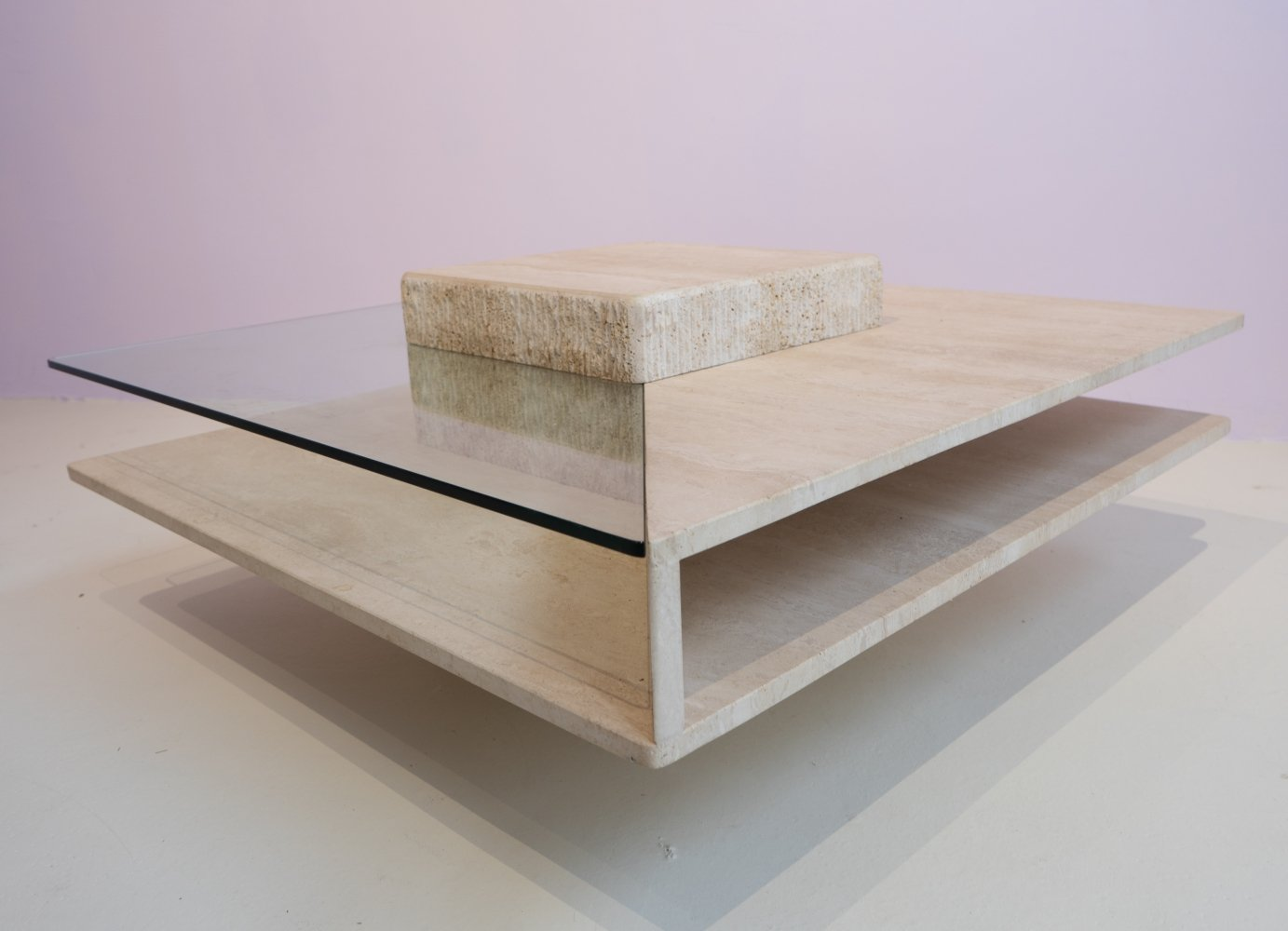 Very unusual French 1960s travertine & glass coffee table