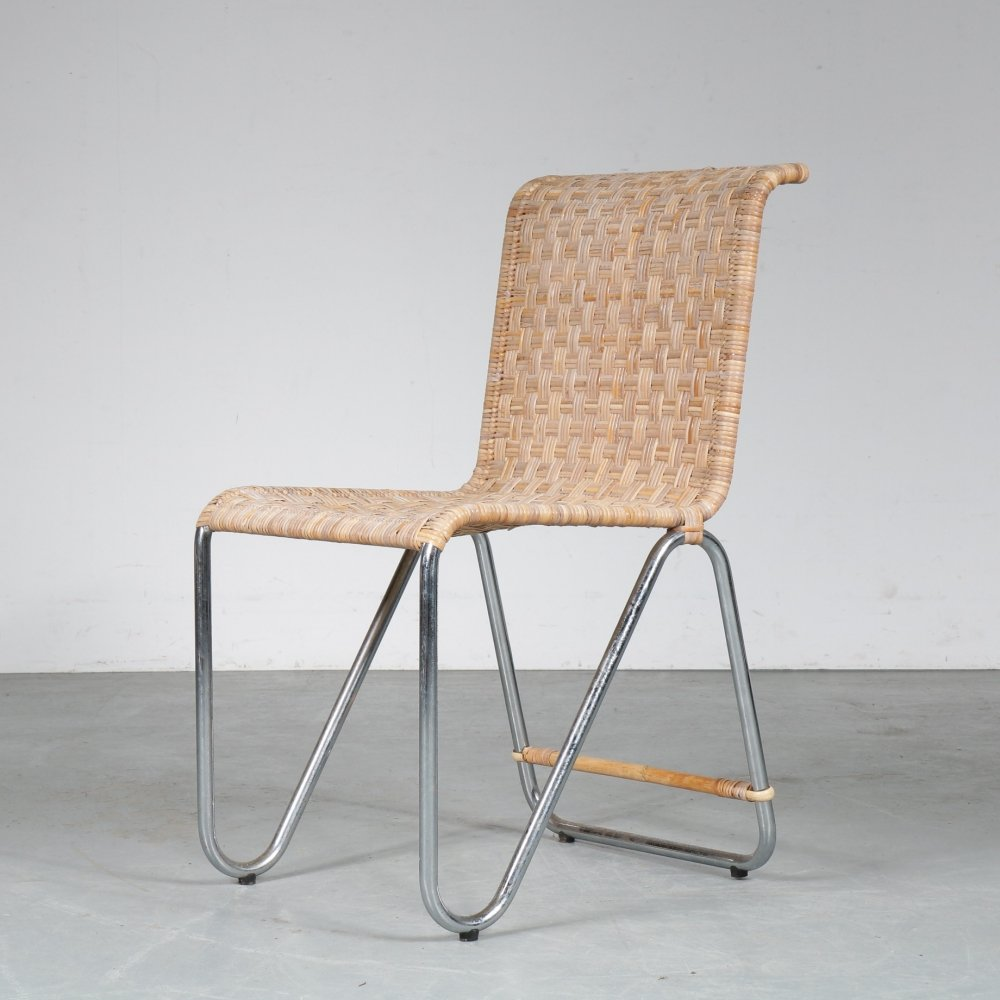 Diagonal dining chair by W. Gispen for Dutch Originals, 1990s