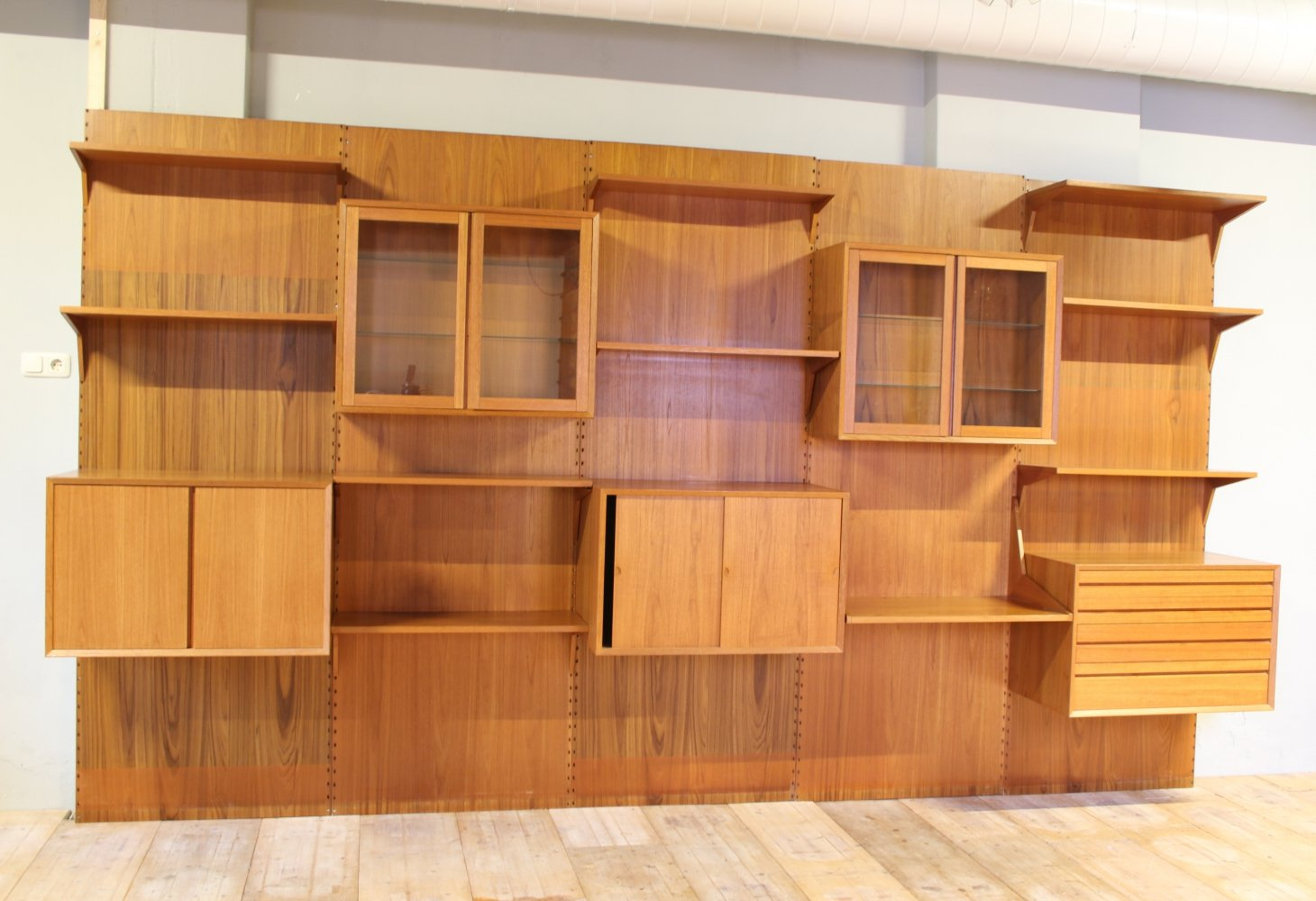 Danish Modular Teak Wall Unit by Poul Cadovius, 1960s