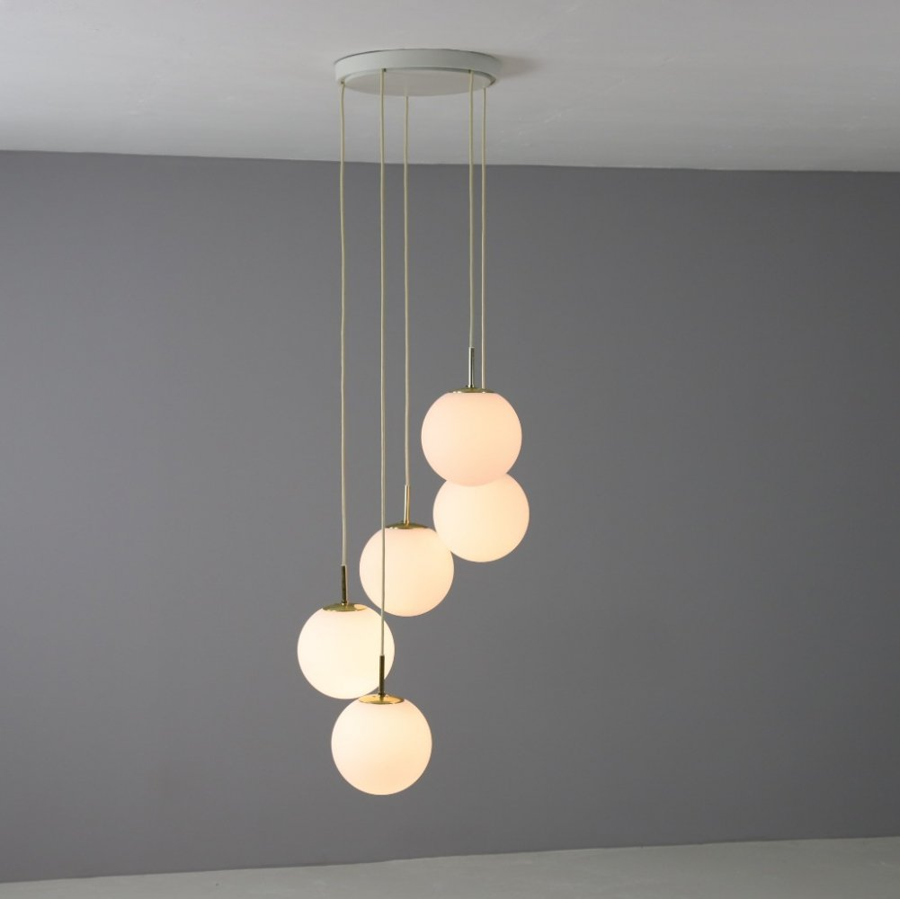 Glashütte Limburg hanging lamp with 5 globes in opal glass & brass, 1970s