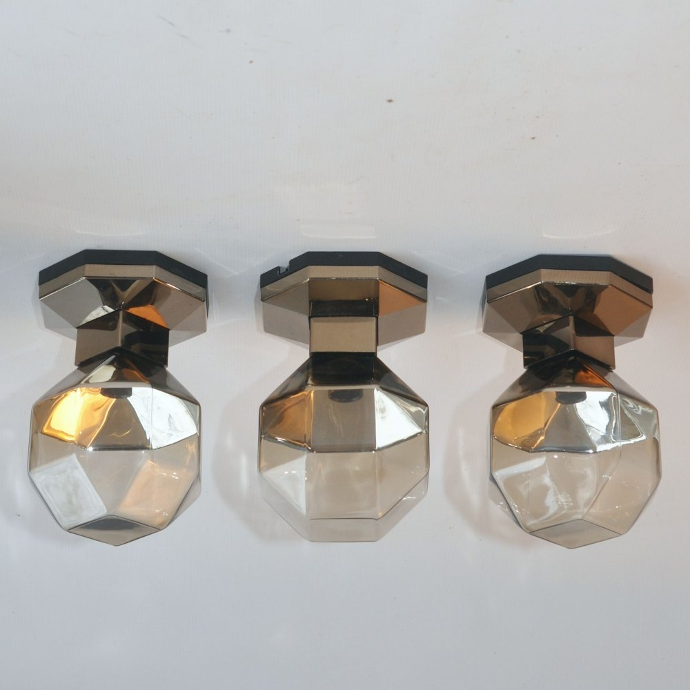 4 x Small Octagonal ceiling lamp by Motoko Ishii for Staff Leuchten, 1970s