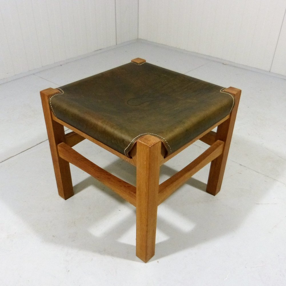 Sturdy wooden stool with saddle leather seat, 1970-80