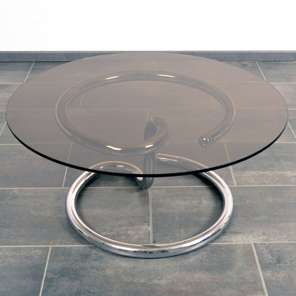 Anaconda table with smoke glass by Paul Tuttle for Strässle, 1970s