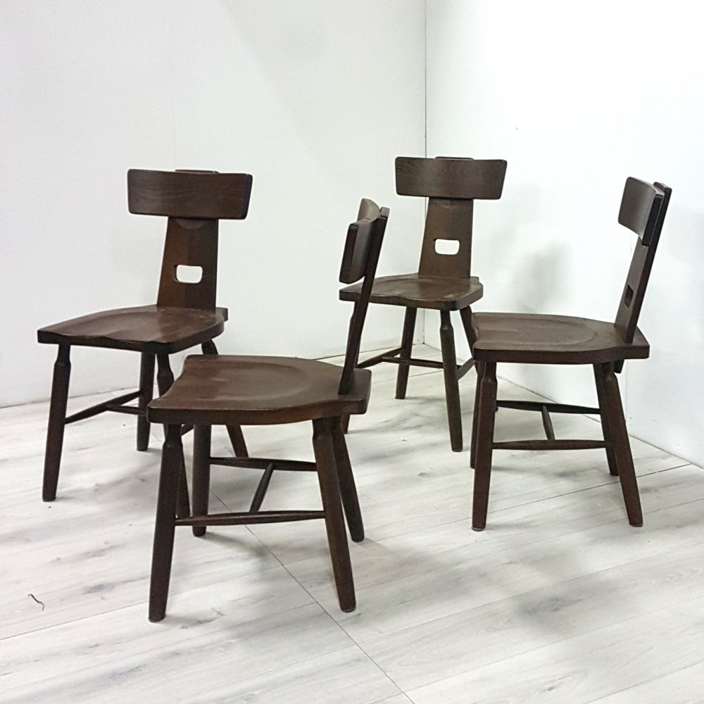 Set of 4 solid oak brutalist dining chairs, 1970s