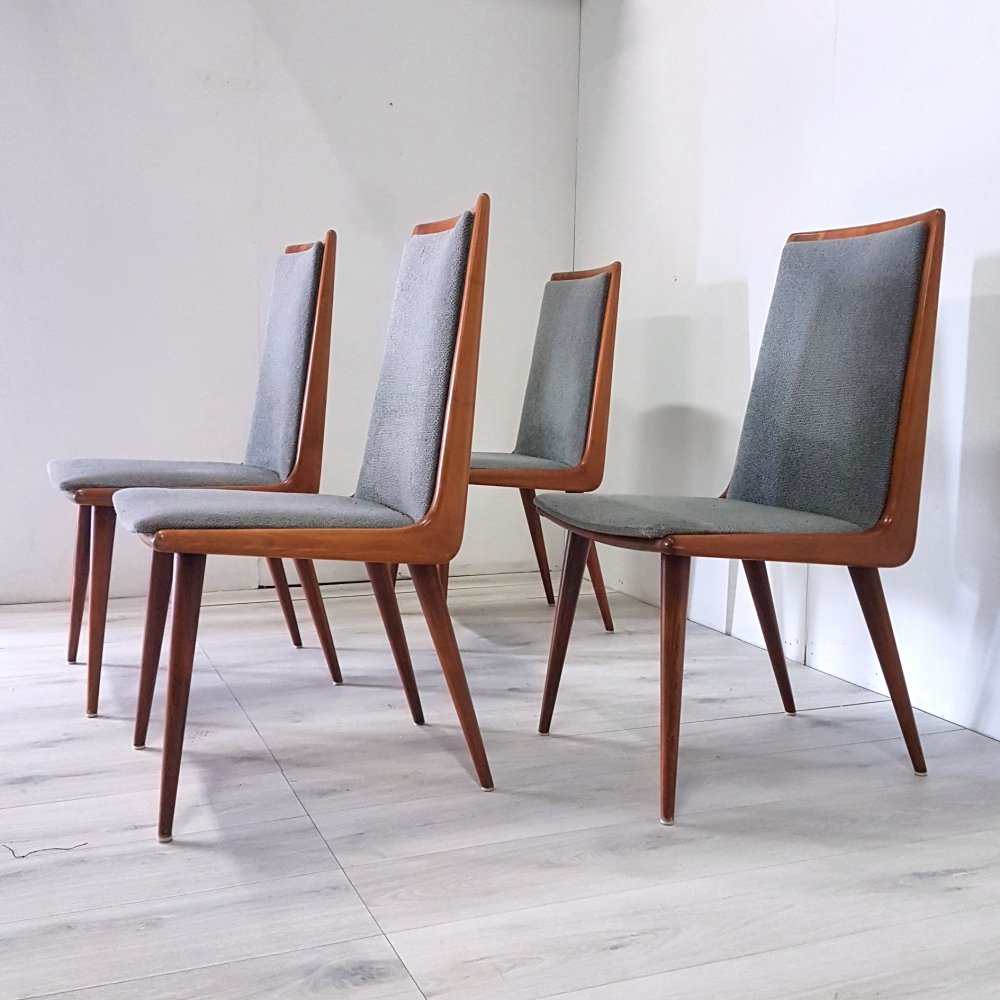 Set of 4 boomerang dining chairs with grey fabric upholstery, 1960s