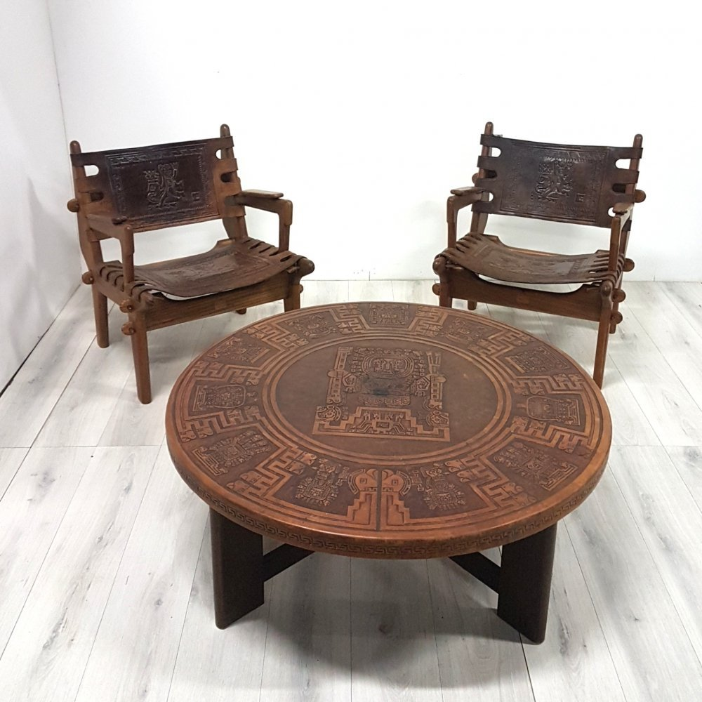 Set of 2 chairs & 1 table by Angel Pazmino, Ecuador 1960s