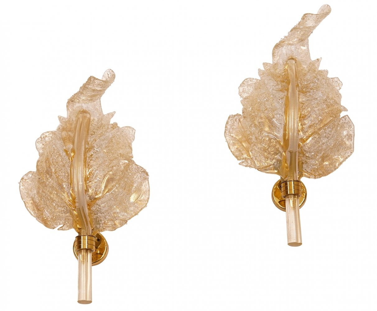 Set of 2 Murano Glass Sconces from Barovier e Toso