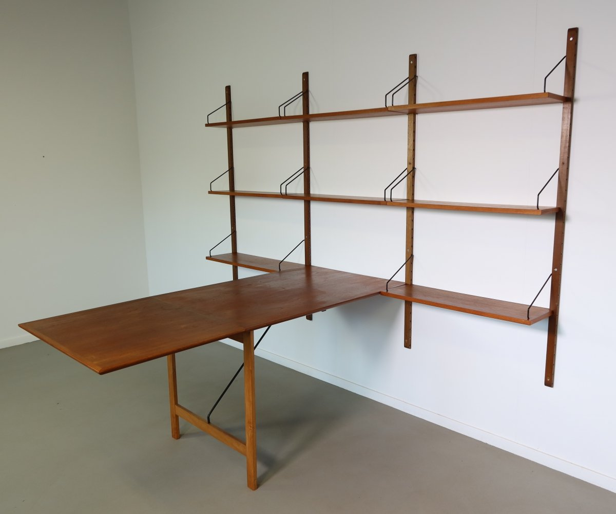 Teak Poul Cadovius wall unit with rare foldable table, 1960s